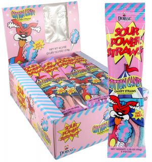 Sour Power Straws - Cotton Candy